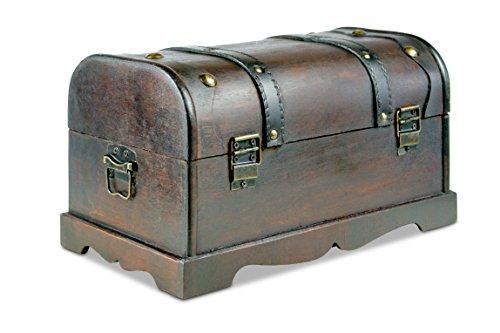 Thunderdog® Columbine 31x18x18,5 cm - Truhe, Holztruhe, Schatzkiste, Kiste, Piratenkiste Box Hochzeit Geburtstag Geschenk Verpackung Schmuckschatulle Schmuckkasten Piratenschatzkiste Ledertruhe - 2