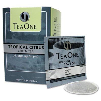 Tea Pods, Tropical Citrus Green, 14/Box, Sold as 1 Box, 14 Each per Box
