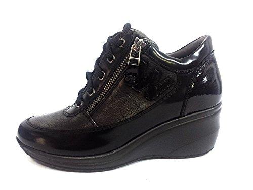 R0576NERO/ANTRACITE Scarpa donna Melluso sneaker zeppa alta allacciata con cerniera abrasivato nero/antracite