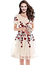 Sky Global Women's Semi Stitched Georgette Cream Kurti With Red Embroidered Flowers (SKY_Kurti_7006)