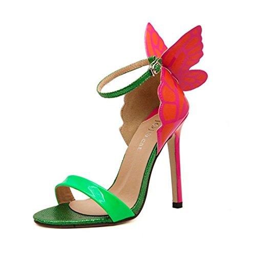 Minetom Donne Sandali con Tacco a Spillo Punta Aperta Fiocco Scarpe con la Farfalla alla Moda ( Verde EU 38 )