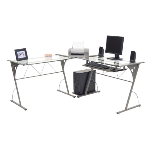 Buy Low Price Comfortable Modern Corner Computer Desk – Pewter and Clear Glass (B004XEPMZM)