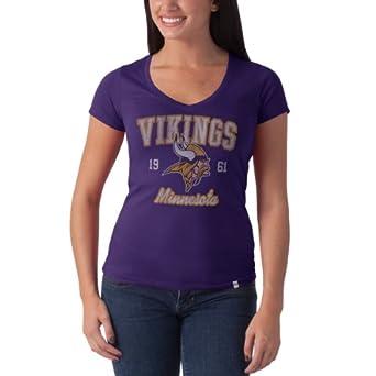 Ladies NFL Minnesota Vikings Retro Logo V Neck Flanker Tee by