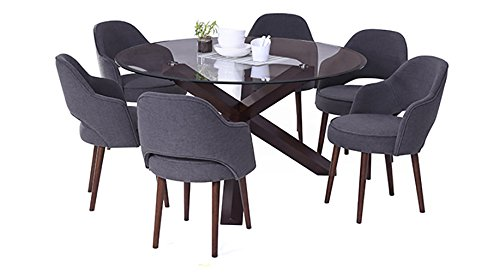 Urban Ladder Matheson FNDNDWGYC066048 Six Seater Dining Table Set (Dark Walnut)