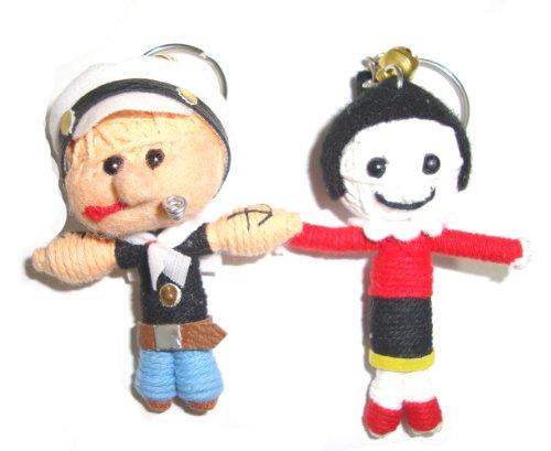 Popeye & Olive 2pcs/set Voodoo String Doll Keyring Keychain - 1