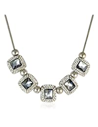 Rhinestoned Bib Necklace Black Color Necklace By Sarah | Fashion Jewellery
