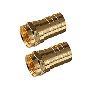 NAC Wire and Cables USA Gold Plate F-Connector RG6 2 Pack RG6 Coax Cable Connector Crimp-On RG-6 Coaxial Crimp Plugs ...