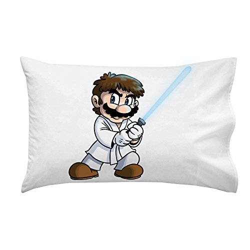 """Plumbing Wars"" Main Hero Character Funny Video Game & Space Movie Parody - Pillow Case Single Pillowcase front-1022425"