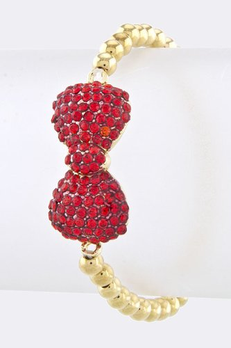 Baubles & Co Crystal Bow Bead Bracelet (Red/Gold) front-1065180