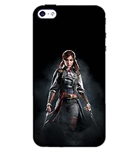 PrintDhaba SUPER GIRL D-6455 Back Case Cover for APPLE IPHONE 4S (Multi-Coloured)