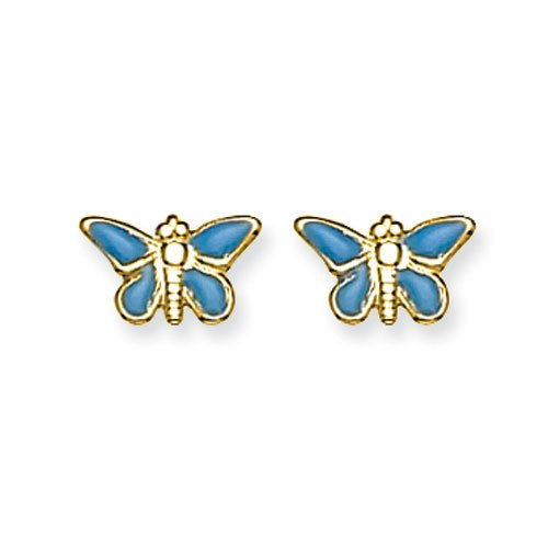 14K Epoxy Fill Blue Butterfly Earrings