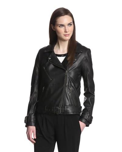 W118 by Walter Baker Women's Evan Leather Moto Jacket  [Black]