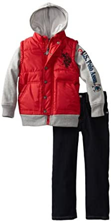 U.S. POLO ASSN. Little Boys' Mock Puff Vest with Jean, Red, 4