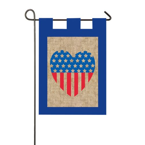 Evergreen Enterprises Burlap Patriotic Heart Garden Flag