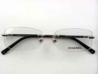 Chanel Rimless Eyeglass Frames : Amazon.com: Authentic Chanel 2073 c.124 Silver Black ...