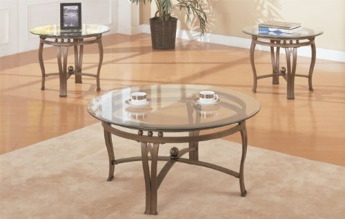 Cheap 3 Pc. Set Metal Frame Beveled Glass Coffee Table with 2 End Tables in Espresso Finish (F3035)