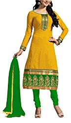 Cherry Creation Women's Cotton Unstitched Dress Material (Yellow and Green)