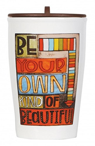C.R. Gibson Double Wall Porcelain To-Go Coffee Cup, Be Your Own Kind Of Beautiful