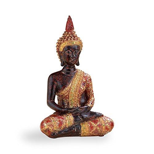 Pajoma-48374-meditierender-Deko-Buddha-mit-rot-goldener-Robe-H-18-cm