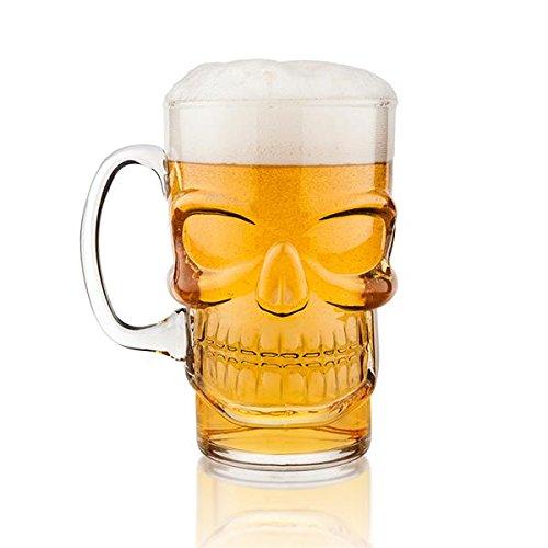 Final Touch - Boccale birra a forma di teschio, in vetro, idea per Halloween