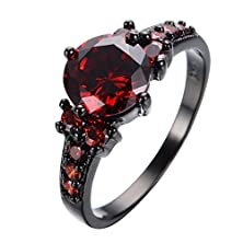 buy Jw Collection Crystal Red Zircon Female Black Gold Filled Ruby Vintage Bridal Promise Wedding Rings