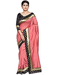 Oomph! Women's Printed Art Silk Sarees - Salmon