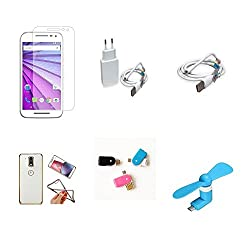High Quality Combo of Moto G3 Temper Glass + 2 Amp USB Charger + USB Data Cable + Attractive Back Cover (Transparent Back with Golden Border) + OTG and USB Dual Card Reader