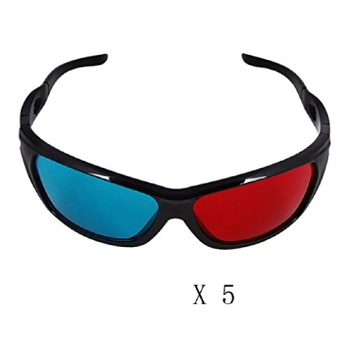 Yanseller 5 Pack Red And Cyan Anaglyph Simple Style 3D Glasses 3D Movie Game-Extra Upgrade Style front-362198