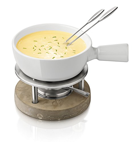 Boska Holland Life Collection 1-Liter Ceramic with Concrete Base Fondue Set, Grey