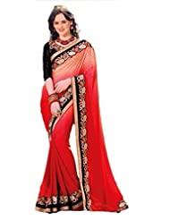 AG Lifestyle Red & Orange Jacquared Saree With Unstitched Blouse ASL805