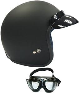 Viper RS 04 Open Face Touring Helmet Matt Black (With Goggles) S (55-56 Cm)