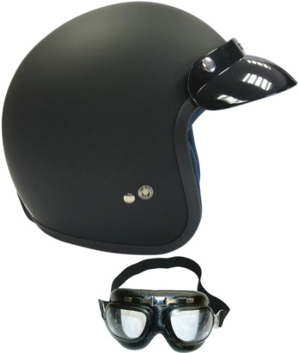 Viper RS 04 Open Face Touring Helmet Matt Black (With Goggles) XL (61-62 Cm)