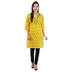 Kaash Women 's Straight Kurta_VRMTE02_M_Yellow