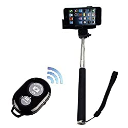 LEAPCAMA(TM) Extendable Handheld Waterproof Self Portrait Selfie Stick Monopod With Adjustable Phone Holder Stand for iPhone 5/5s/5C iPhone 6 Samsung Galaxy s3 s2 Wireless Camera Bluetooth Self-timer Remote Shutter Controller For IOS Android Smartphone (black)