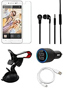 NIROSHA Tempered Glass Screen Guard Cover Case Car Charger Headphone USB Cable Mobile Holder for Vivo Y28 - Combo