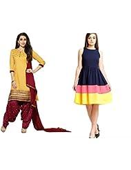Sky Global Women's Regular Wear Dress Material And Kurti (Combo Pack Of 2)(SKY_DK_9007)(SKY_557_Yellow)(SKY_7028...