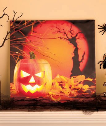 Lighted Jack-O'-Lanterns Canvas Art