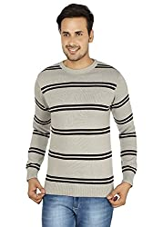 Fizzaro Mens Grey Stripped Casual Sweater