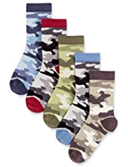 5 Pairs of Freshfeet™ Cotton Rich Camouflage Socks with Silver Technology