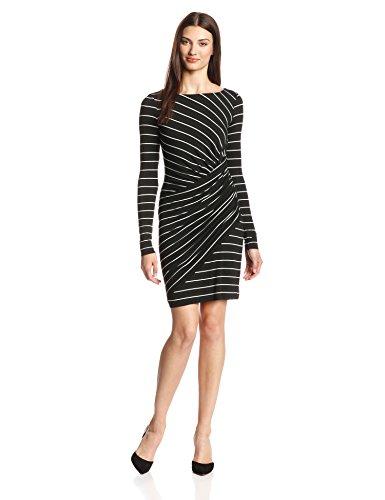 Bailey 44 Women's Vertical Drop Striped Draped Dress, Black, Medium