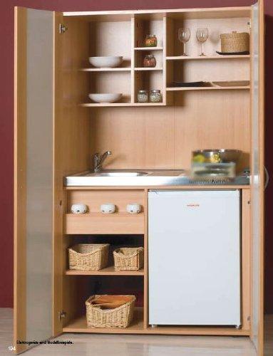 Schrankküche Buche 1,00 m Büroküche Kühlschrank Singleküche Minik ... | {Schrankküche büro 98}
