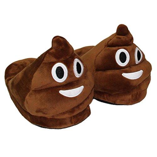 Ularma Emoji Peluche Pantofola Per Uomo E Donne Creative Pantofole Scarpe Da Casa Inverno (Marrone)