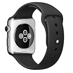 Apple Watch Band, Creazy® Sports Silicone Bracelet Strap Band for 38mm Apple Watch (Black)