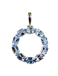 Riyo Blue Enchanting Blue Topaz Wholesale Silver Fashion Solid Silver Pendant Women L 1.5in Spbto-10057