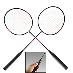 Pair White String Metal Shaft Head Badminton Rackets