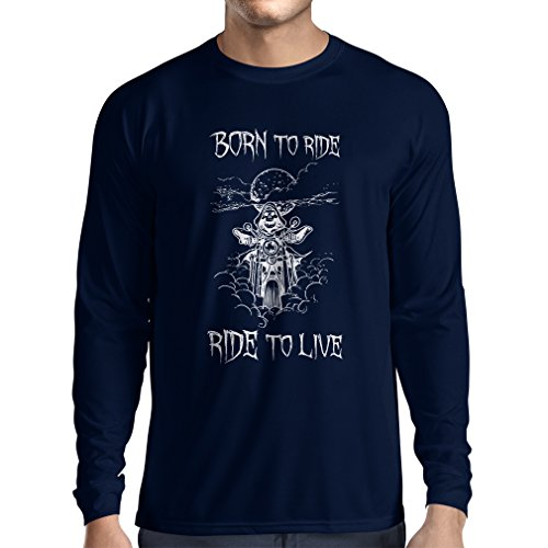 N4690L T-shirt manica lunga da uomo Born To Ride! motorcycle clothing (XX-Large Azzulo Multicolore)
