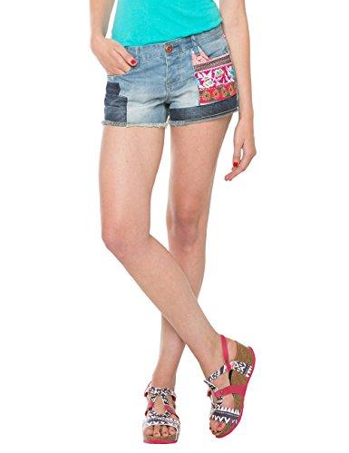 Desigual ETHNIC SUPER SHORT-Shorts Donna, Blu (DENIM LIGHT WASH 5007), 30