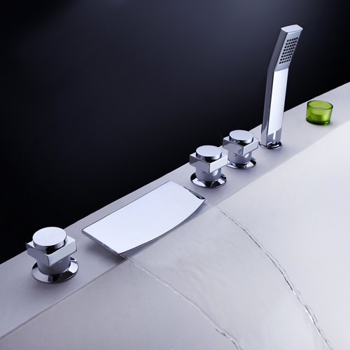 LightInTheBox Three Handle Widespread Waterfall Roman Tub Faucet