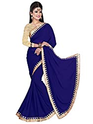 Sonani Women's Georgette Disigner Paety Wear Sarees with Blouse Piece (NewBlue874)
