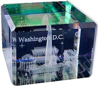 Washington DC 3-D Crystal Cube - Monuments, Washington DC Souvenirs, Washington DC Gifts